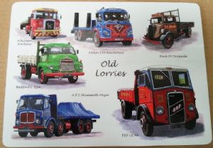 Old Lorries (Foden, Bedford, AEC, ERF etc) set of 4 cork backed table placemats  (lsn)